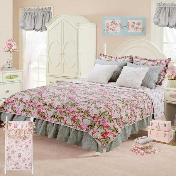 Cotton Tale Tea Party Floral Reversible 5 PC Twin Quilt Bedding Set
