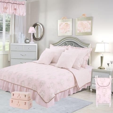 Cotton Tale Lollipops Pink Floral Reversible 5 PC Twin Quilt Bedding