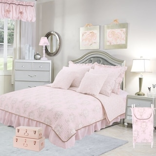 Cotton Tale Lollipops Pink Floral Reversible 5 PC Twin Quilt Bedding