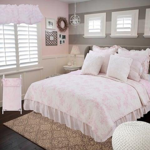 Cotton Tale Heaven Pink Floral Reversible 8 PC Full/Queen Bedding Set