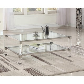 Best Master Furniture Glass with Acrylic Coffee Table