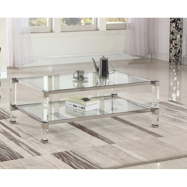Shop Best Master Furniture Glass With Acrylic Coffee Table