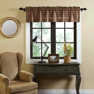 Tan Primitive Kitchen Curtains VHC Crosswoods Valance Rod Pocket Cotton Plaid