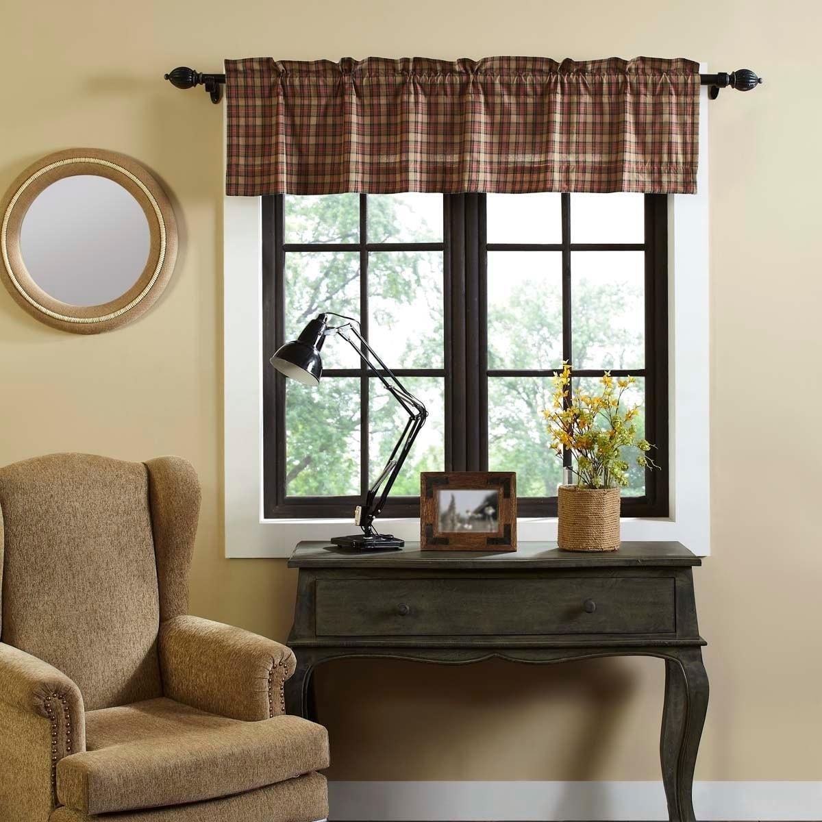 Vhc Primitive Tier Pair Maisie Kitchen Curtains Rod Pocket Tan Cotton