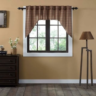Tan Primitive Kitchen Curtains VHC Crosswoods Swag Pair Rod Pocket Cotton Plaid - Swag 36x36x16
