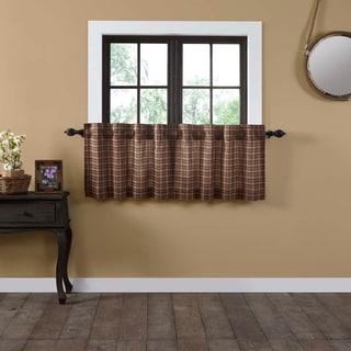 Tan Primitive Kitchen Curtains VHC Crosswoods Tier Pair Rod Pocket Cotton Plaid