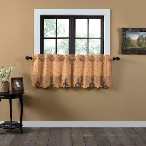 Tan Primitive Kitchen Curtains VHC Maisie Tier Pair Rod Pocket Cotton Floral - Flower Buttons