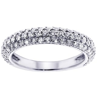 White Gold or Platinum 1 ct TDW Pave Set Diamond Encrusted Anniversary Wedding Ring (G-H, SI1-SI2)
