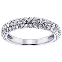 White Gold or Platinum 1 ct TDW Pave Set Diamond Encrusted Anniversary Wedding Ring (G-H, SI1-SI2)