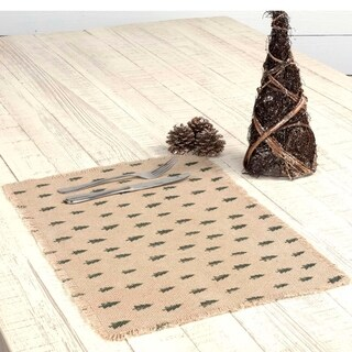 Vintage Burlap Tree Placemat Set of 6