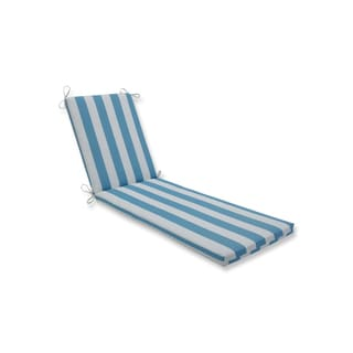 Pillow Perfect Outdoor/Indoor Cabana Stripe Turquoise Chaise Lounge Cushion 80x23x3