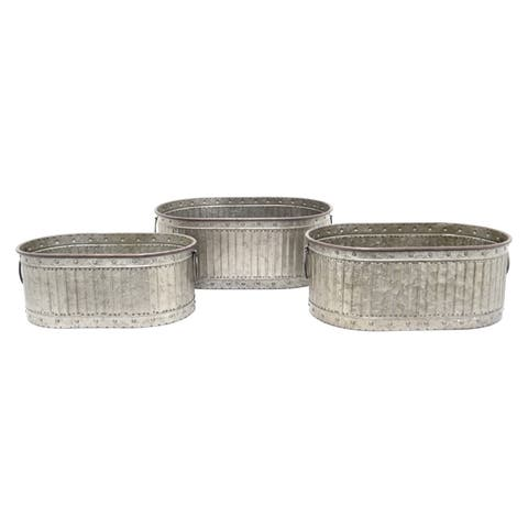 Three Hands Set Of Three Galvanized Planters - l19.75x12.5x7.5 * m 17.5x11x7 * s 15.75x9.5x6.5