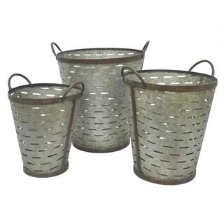 Three Hands Set Of Three Galvanized Metal Buckets - l15x14x16.5 * m 13x12x14.5 * s 11.5x10x12.5