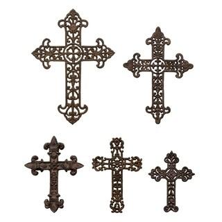 Three Hands Set Of Five Metal Cross Wall Decors - l14.75x0.25x21 * m 12x0.25x16.5 * s 9x0.25x12