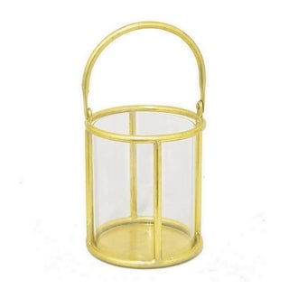 Three Hands Glass Candle Holder With Gold Metal Base