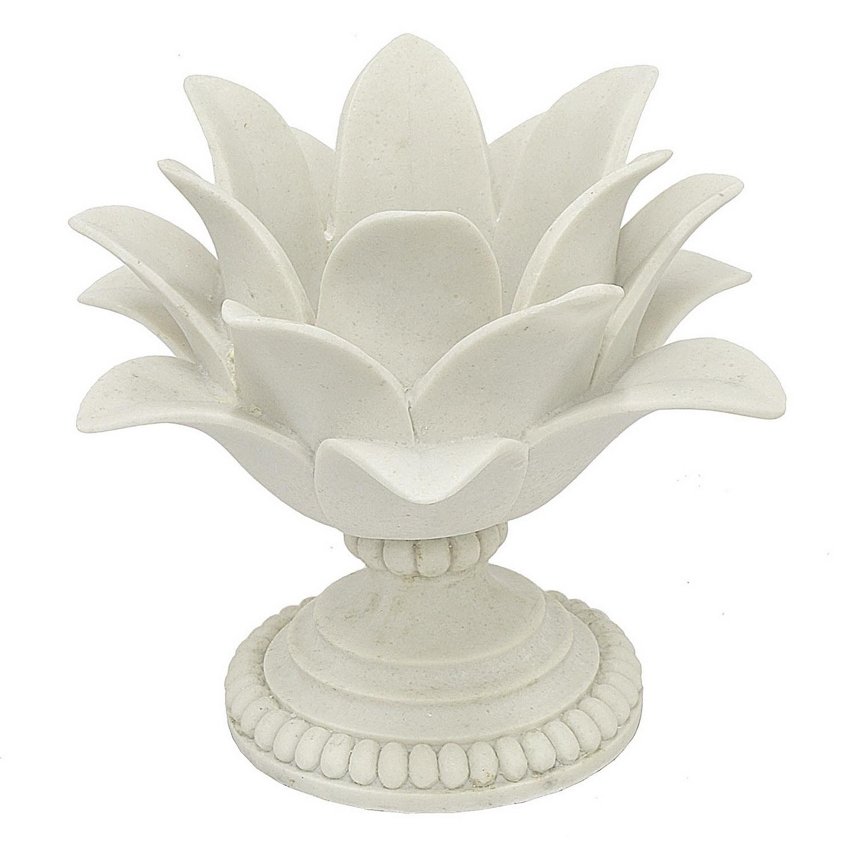 Three Hands Decorative White Resin Lotus Flower Votive Holder Overstock 19487782