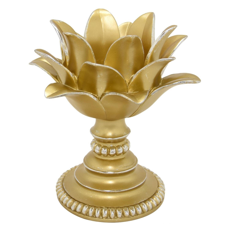 Three Hands Decorative Gold Resin Lotus Flower Votive Holder Overstock 19487783