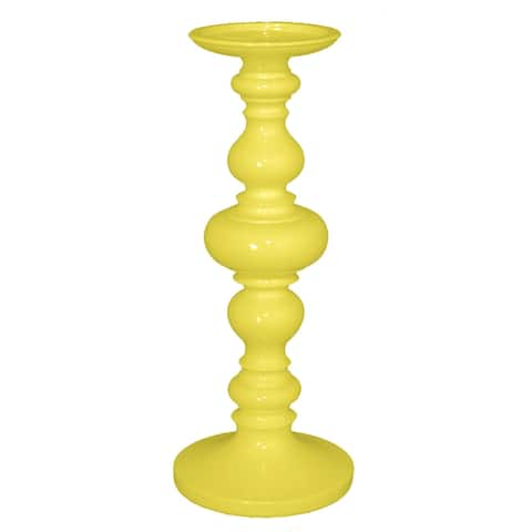 Three Hands Decorative Yellow Resin Candleholder