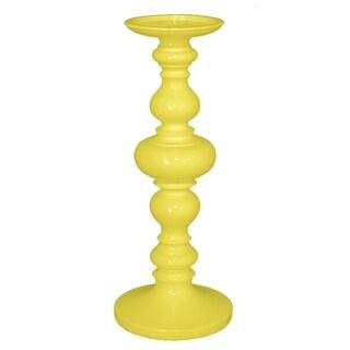 Three Hands Decorative Yellow Resin Candleholder