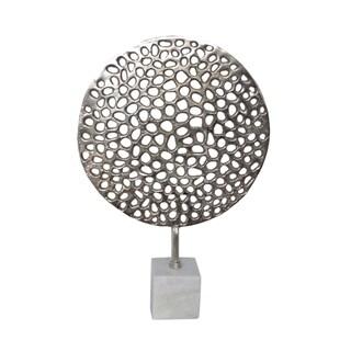 Three Hands Metal Round Sculpture W/Marble