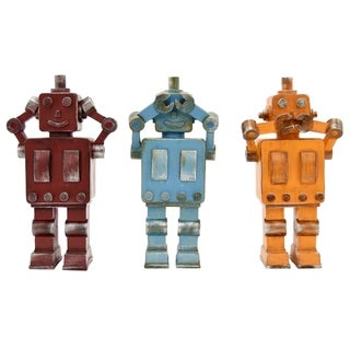 Three Hands Set Of Three Multi-Colored Resin Robots