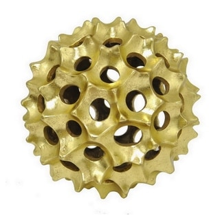 Three Hands Gold Resin Spiked Orb Tabletop Decor