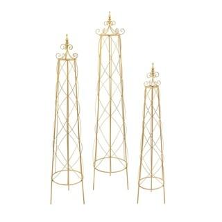 Three Hands Goldtone Decorative Trellis (Set of 3)