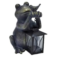 Three Hands Decorative Bronze Resin Frog With Lantern