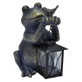 Three Hands Decorative Bronze Resin Frog With Lantern