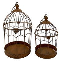Three Hands Brown Metal 2-piece Bird Cage Set
