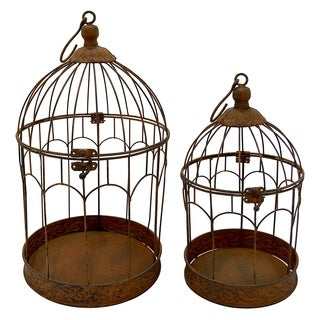 Three Hands Brown Metal 2-piece Bird Cage Set