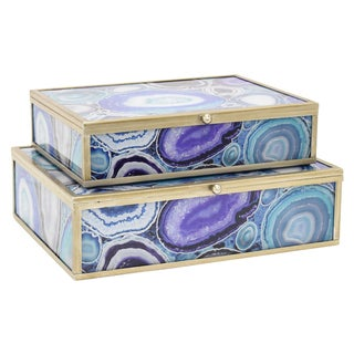 Three Hands Set Of Two Glass And Metal Framed Boxes - l9x7x2.5 * m 8x6x2 *