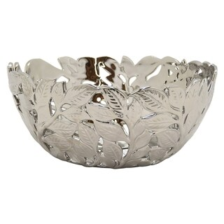 Three Hands Pierced Silver-finished Ceramic Decorative Bowl