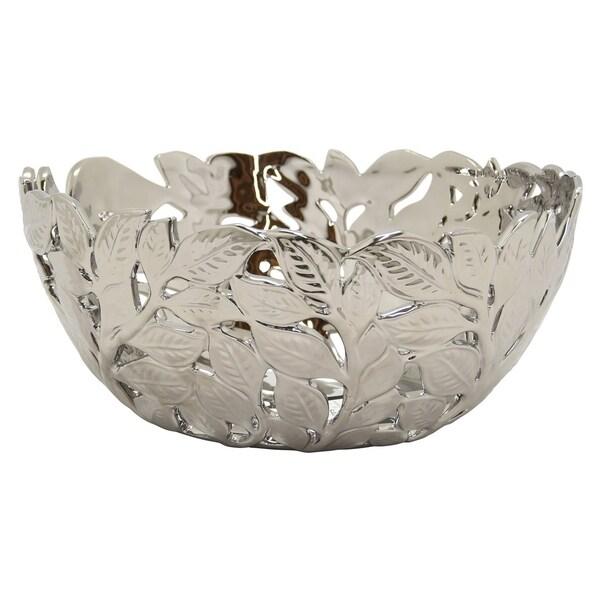 Three Hands Pierced Silver-finished Ceramic Decorative Bowl