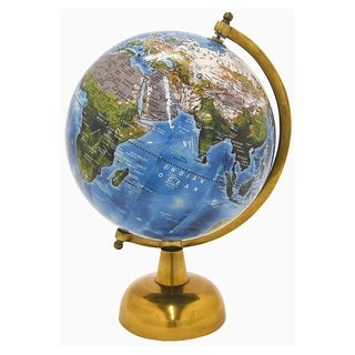 Three Hands Antique Brass Metal Base 6-inch Globe