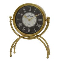 Three Hands Goldtone-finish Metal Table Clock with Black/White Face