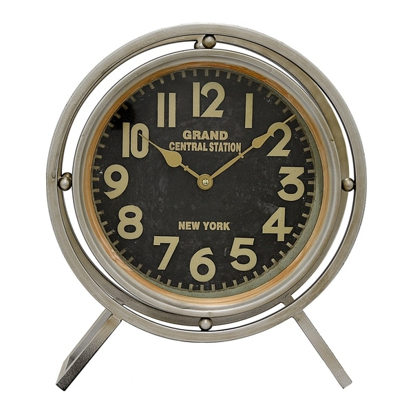 Three Hands Grey/Black/Gold-tone Metal Table Clock