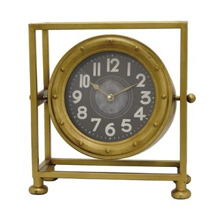 Three Hands Gold-finish Metal Table Clock