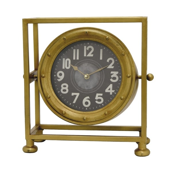 Beau Shop Three Hands Gold Finish Metal Table Clock   On Sale   Free Shipping  Today   Overstock   19488175