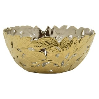 Three Hands Decorative Pierced Gold Ceramic Bowl