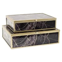 Three Hands Glass And Metal Decorative Boxes (Set of 2)