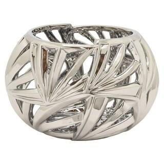 Three Hands Silvertone Ceramic Decorative Pierced Contemporary Bowl