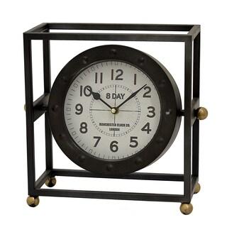Three Hands Black Metal Table Clock