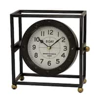 Three Hands Black Metal Table Clock