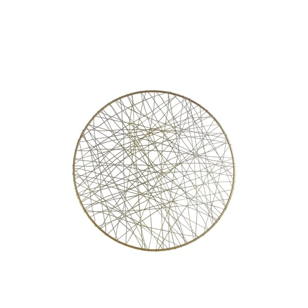 UTC31015: Metal Round Wall Art with Abstract Lines Design SM Metallic Finish Gold