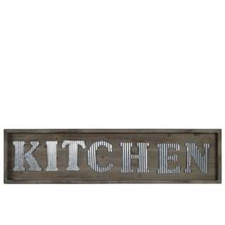 "UTC31312: Wood Rectangular Wall Sign with ""KITCHEN"" in Metal Sheet Design Natural Wood Finish Brown"