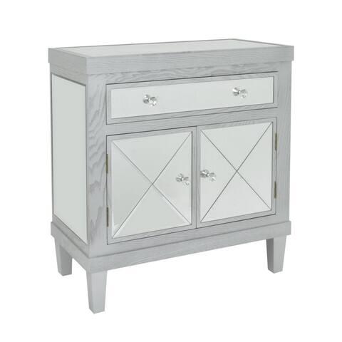 Three Hands Grey Wood 1-drawer 2-door Mirrored Cabinet