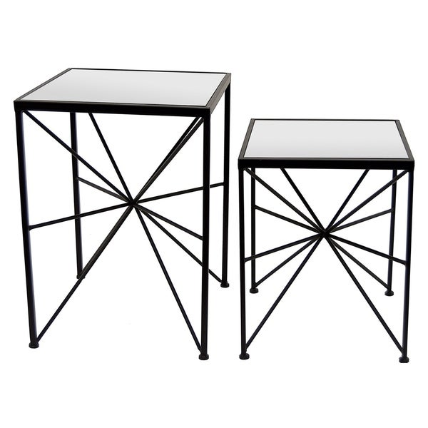 Shop Three Hands Set Of Two Metal Mirror Tables