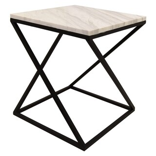 Three Hands White Finish Marble and Metal Accent Table