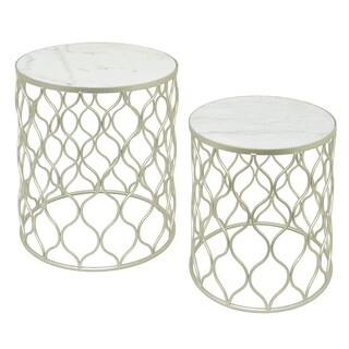 Three Hands Champagne Finish Metal Marble Top Table (Set of 2)